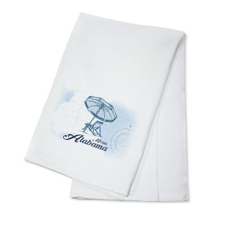Mobile  Alabama   Beach Chair   Umbrella   Blue   Coastal Icon   Lantern Press Artwork  100  Cotton Kitchen Towel