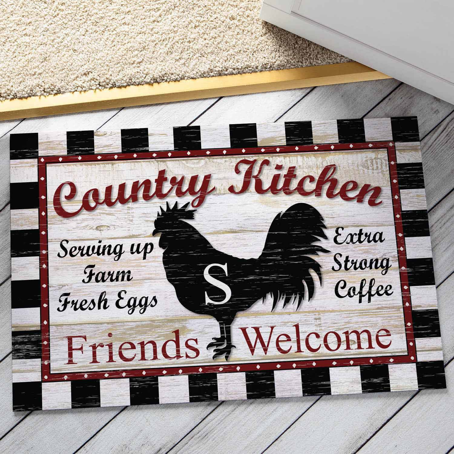 Personalized Floor Mat - Country Kitchen with Initial