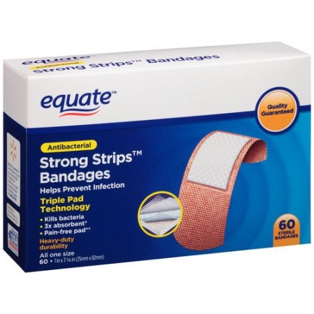 Equate Antibacterial Strong Strips Bandages, 60 Ct by EQUATE