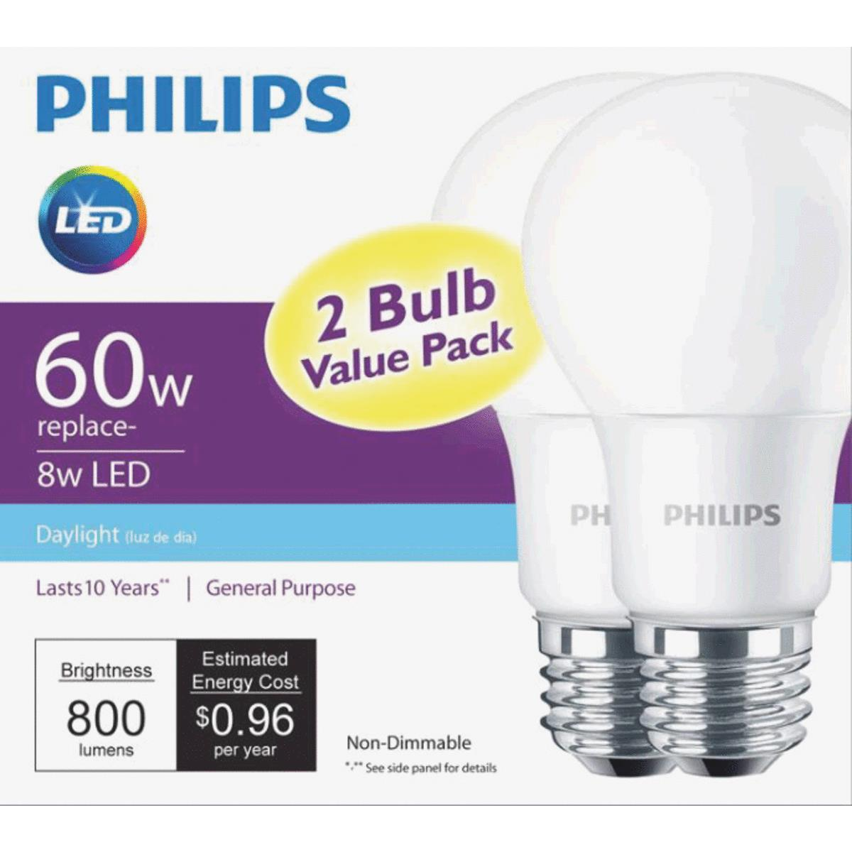 Philips LED Light Bulb, A19, Daylight, 60 WE, 2 Ct
