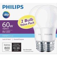 Philips LED Light Bulb, A19, Daylight, 60 WE, 2 Ct