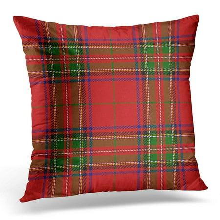 ARHOME Red Checkered Clan Stewart Scottish Royal Tartan Plaid Stuart Pillow Case Pillow Cover 20x20 (Stewart Clan Tartan)