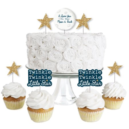 Twinkle Little Star - Dessert Cupcake Toppers - Baby Shower or Birthday Party Clear Treat Picks - Set of - Halloween Party Pics Hot