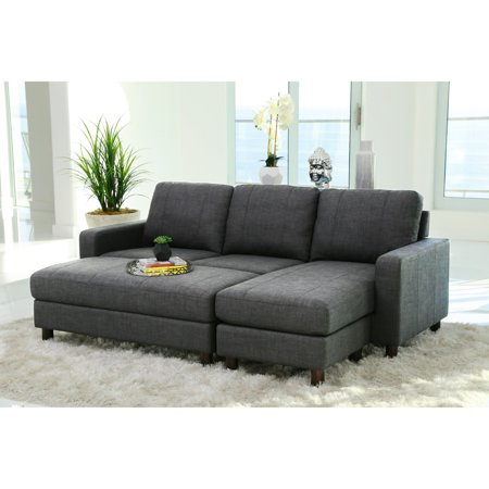 Abbyson Stanford Fabric Reversible Sectional Sofa with Storage ...