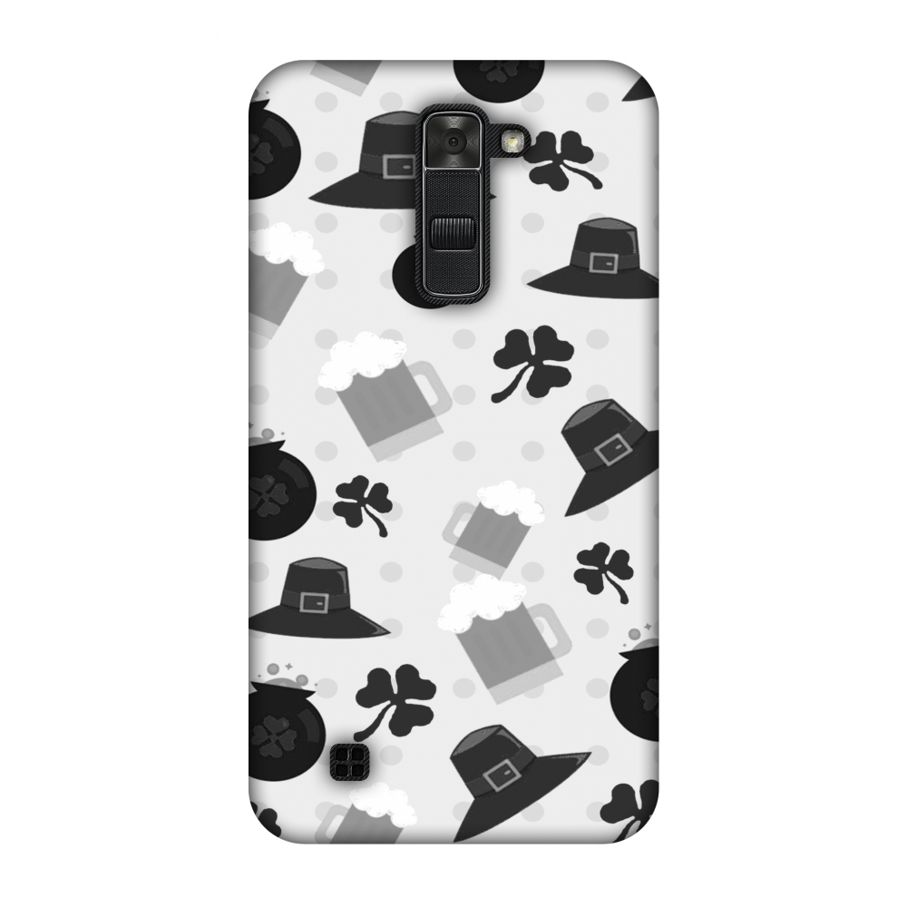 LG K7 Case, Premium Handcrafted Designer Hard Shell Snap On Case Printed Back Cover with Screen Cleaning Kit for LG K7, Slim, Protective - Shamrock, hats, beer and potluck - Monochrome