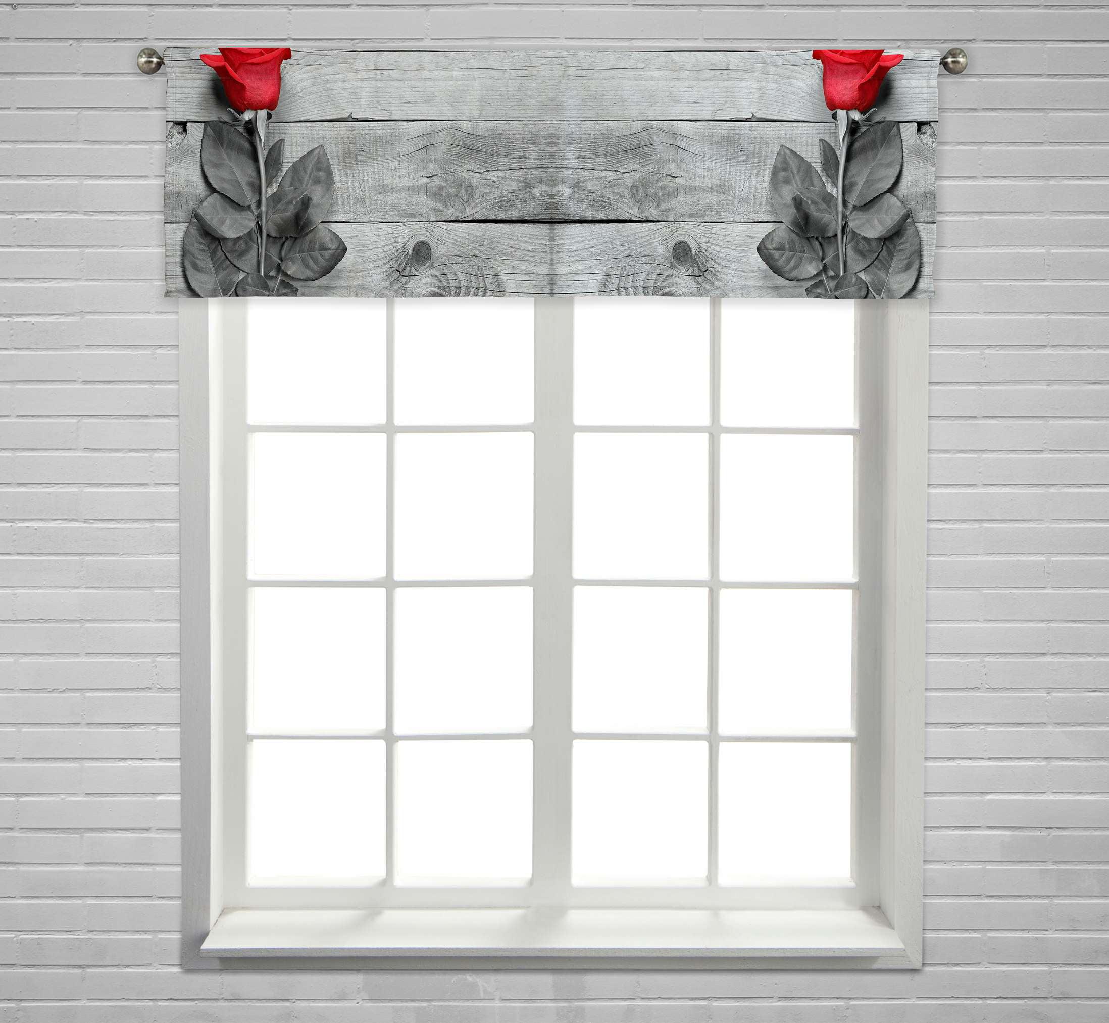Eczjnt Red Rose Black White Wooden Window Curtain Valance Rod Pocket Size 54x18 Inch Walmart Com Walmart Com