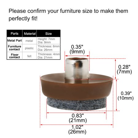 "8pcs Nail-on Felt Pad Nails Glide Slider 1"" 26mm Dia for Wooden Furniture Chair Table Leg Feet - image 4 de 7"