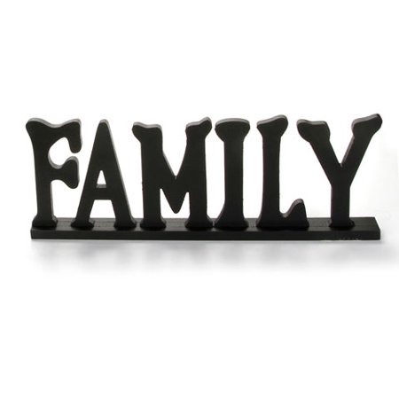 Wooden Hello Sign (Wooden Table Top Sign - Family - Black - 20 x)