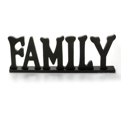 Wooden Table Top Sign - Family - Black - 20 x 7.25