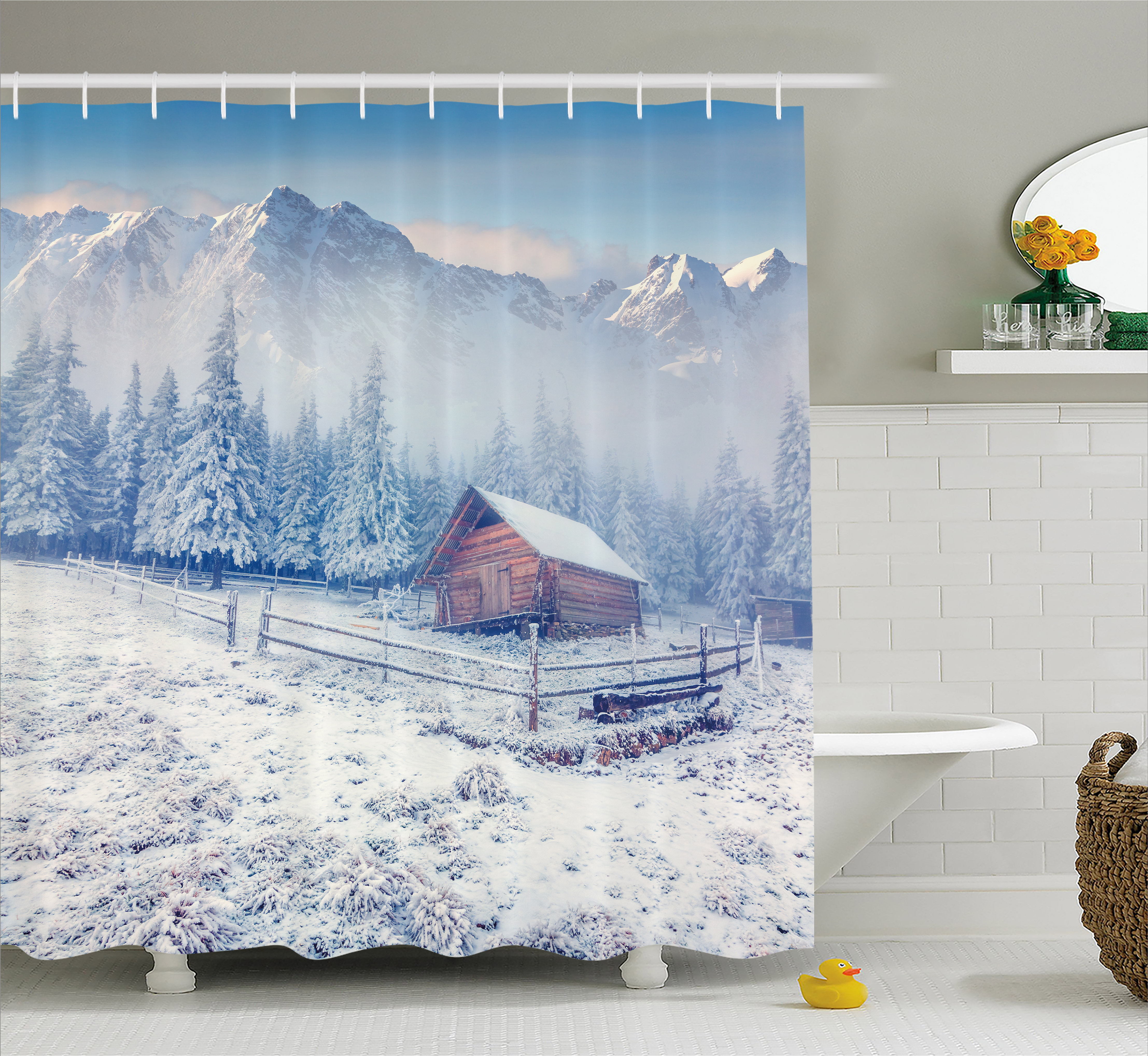 Winter Shower Curtain, Old Farmhouse in Snow Mountains and Frosted Forest Rustic Life Photography, Fabric Bathroom Set with Hooks, 69W X 84L Inches Extra Long, Caramel White Blue, by Ambesonne