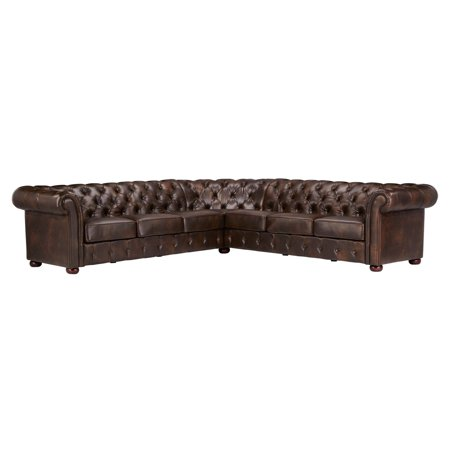 Weston Home Vance L-Shape 7 Seat Bonded Leather Sectional Sofa