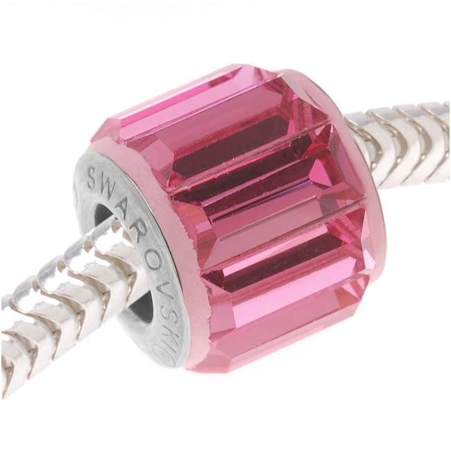 Swarovski Crystal, #80301 BeCharmed Baguette Pave European Style Lg Hole Bead 10mm, 1 Pc, Rose