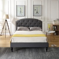 Modern Sleep Cranleigh Upholstered Platform Bed   Headboard and Metal Frame with Wood Slat Support, Multiple Colors, Multiple Sizes