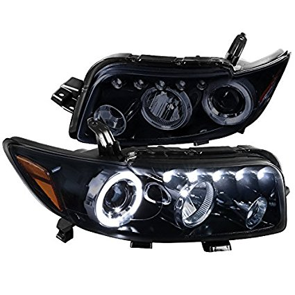 Scion xB Replacement Glossy Black Halo LED Projector Headlights Head Lamps Pair