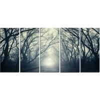 Design Art Dark Autumn Forest in Fog 5 Piece Photographic Print on Wrapped Canvas Set