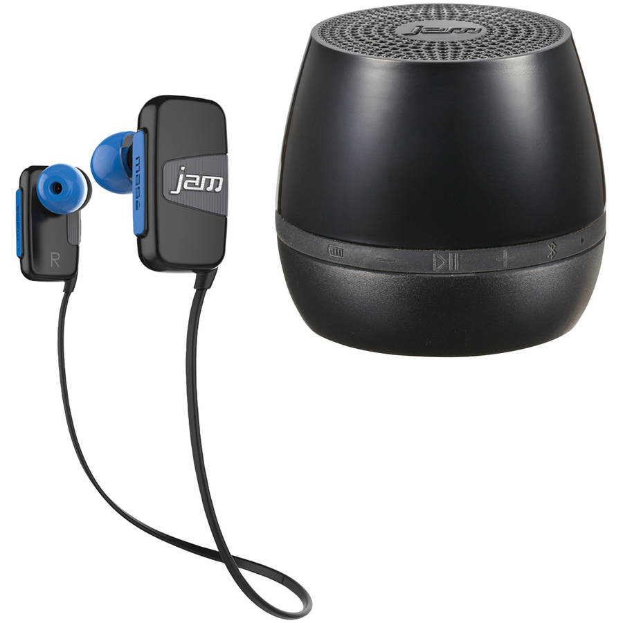 Jam HX-EP315GY Jam Transit Mini Earbuds and Jam HX-P190GR Jam Classic 2.0 Bluetooth Speaker