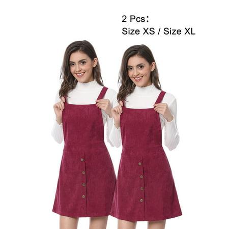 107a98eca57 Women Corduroy Button Decor A Line Suspender Overall Dress Skirt