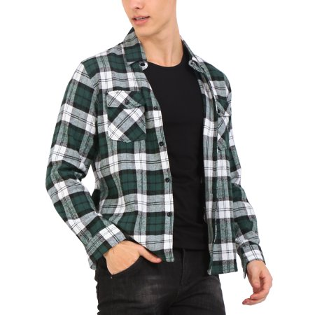 Mens Long Sleeve Button Down Casual Plaid Shirt Green