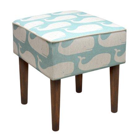 123 Creations Whales Linen Upholstered Modern Vanity Stool