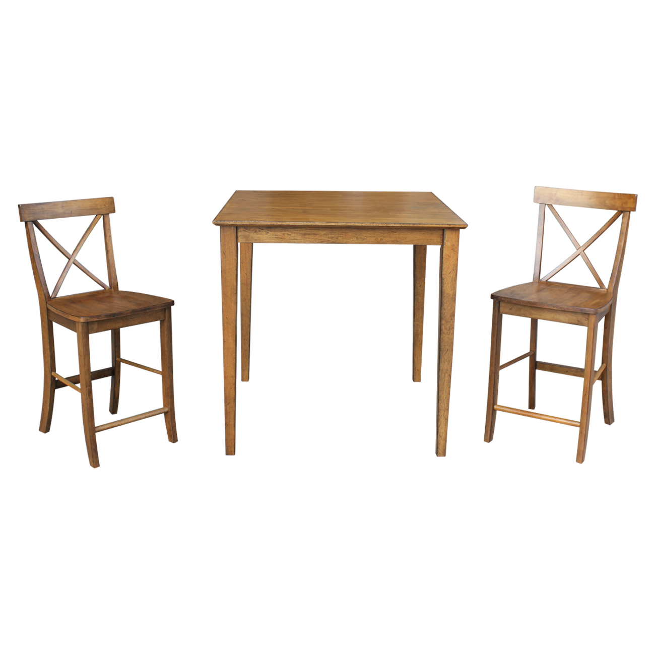 "36"" x 36"" Counter Height Table with 2 X-back Stools in Pecan - Set of 3"