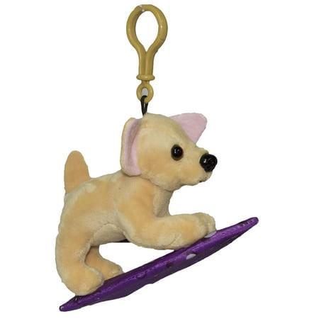 Plush Dog On A Surfboard Key Chain or Backpack Clip -Chihuahua (Chihuahua Key)