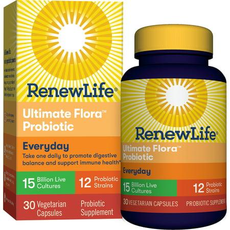 Renew Life Adult Probiotic - Ultimate Flora Everyday Probiotic, Probiotic Supplement - 15 Billion - 30 Vegetable