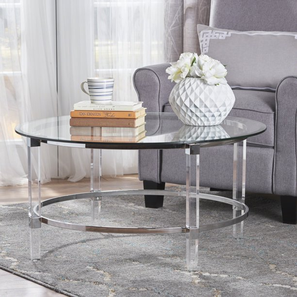 Lynn Contemporary Round Tempered Glass, Round Acrylic Coffee Table