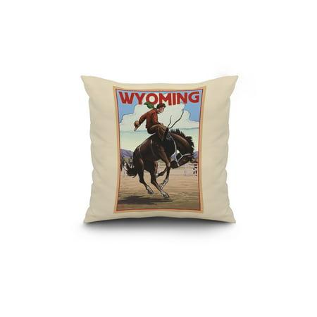 Wyoming Cowboy and Bronco Scene Lantern Press Artwork 18x18 Spun Polye