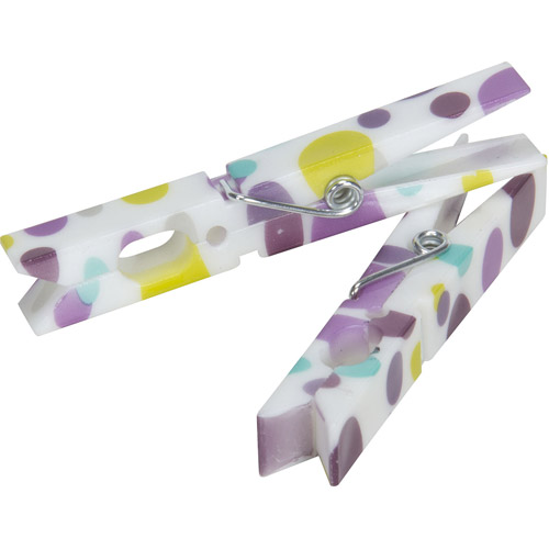 Painted Dots Plastic Clothespins, 7-Coil Spring, 14-Count