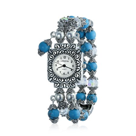 Vintage Style Simulated Turquoise Beads Fashion Stretch Bracelet Wrist Watch For Women White Square Face Dial Steel