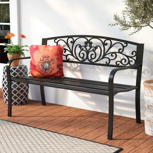 Fleur De Lis Living Carennac Scroll Backrest Iron Garden Bench