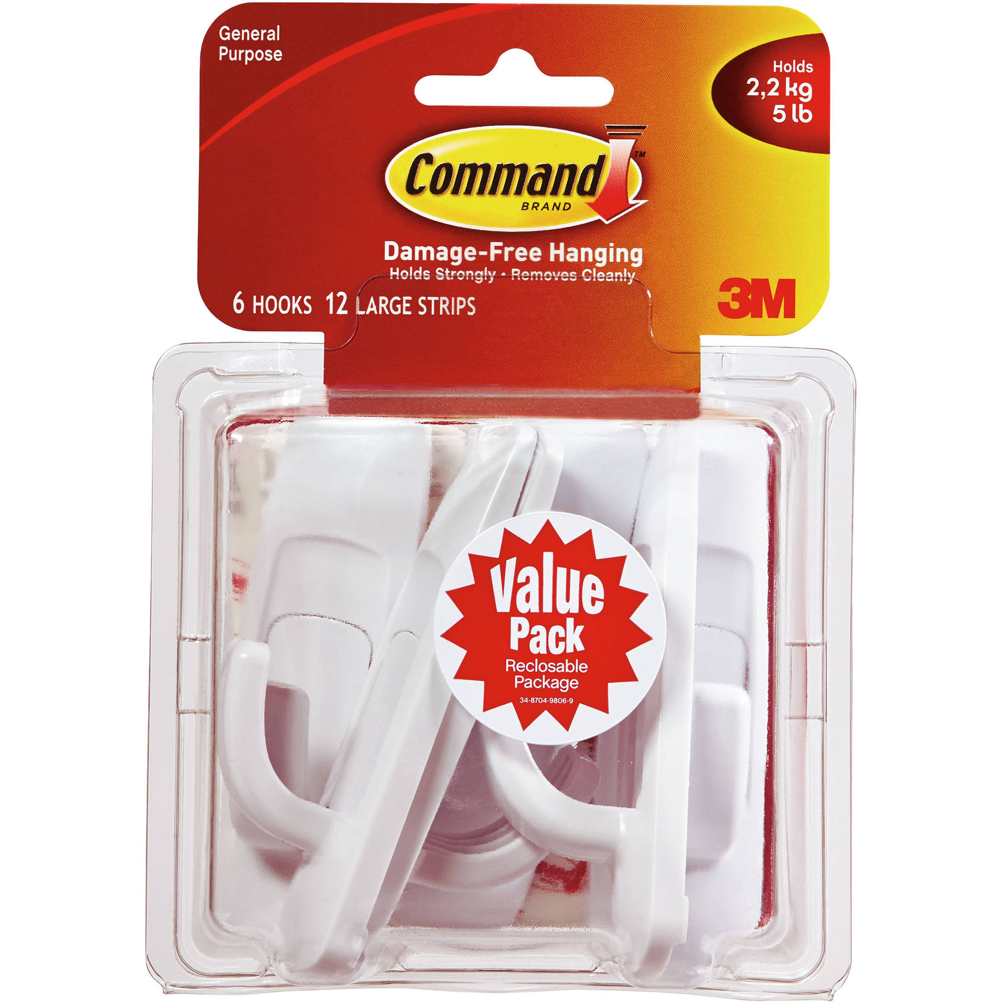 Command Large Hook Value Pack, White, 6 Hooks, 12 Strips, 17003VP-WM