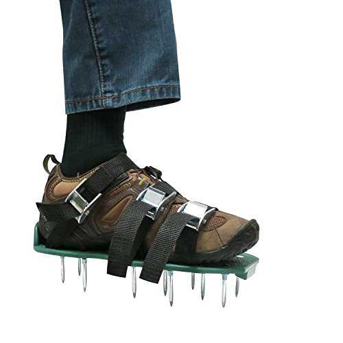 Heavy Duty Spiked Sandals for Aerating Your Lawn or Yard 4 x Adjustable Aluminium Alloy Buckles /& 1 x Heal Elastic Band Unique Design Ohuhu Lawn Aerator Shoes