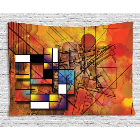 Modern Decor Tapestry, Geometric Unusual Figures with Lines and Circles Triangles and Squares Image, Wall Hanging for Bedroom Living Room Dorm Decor, 60W X 40L Inches, Multicolor, by Ambesonne