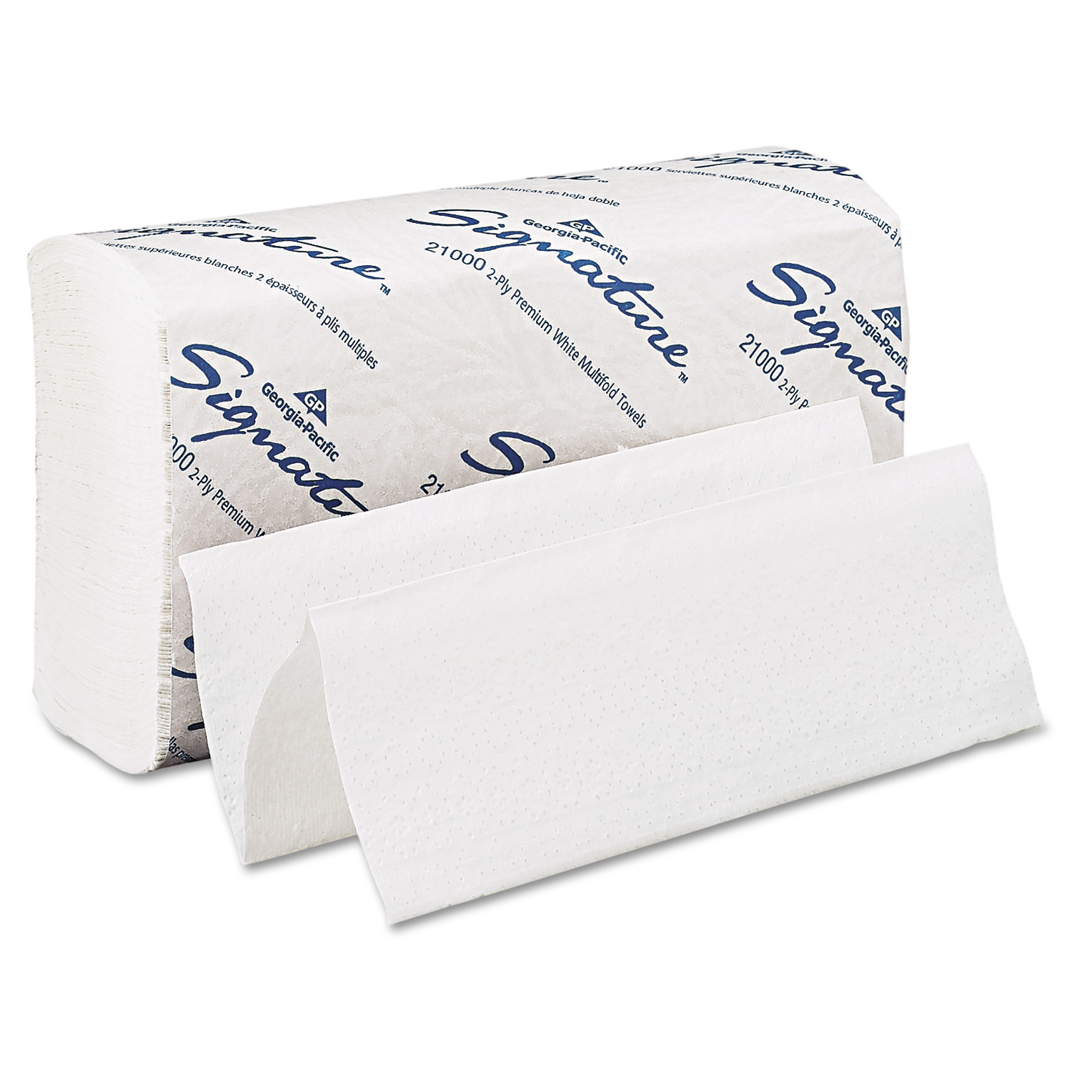 Georgia Pacific Professional Signature® White 2-Ply Premium Multifold Paper Towels, 21000, 125 Towels per Pack, 16 Packs per Case