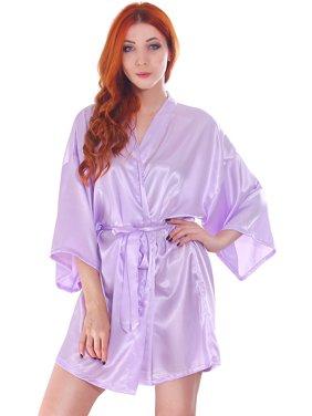 Product Image Women s Silk Satin Short Bridal Kimono Robe Sleepwear Bathrobe b8f860ed8