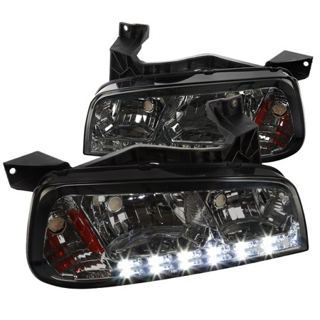 06 Dodge Charger Headlight (Spec-D Tuning 2006-2010 Dodge Charger 1Pc Smoke Lens Smd Led Headlights Corner Signal Lamps (Left + Right) 06 07 08 09)