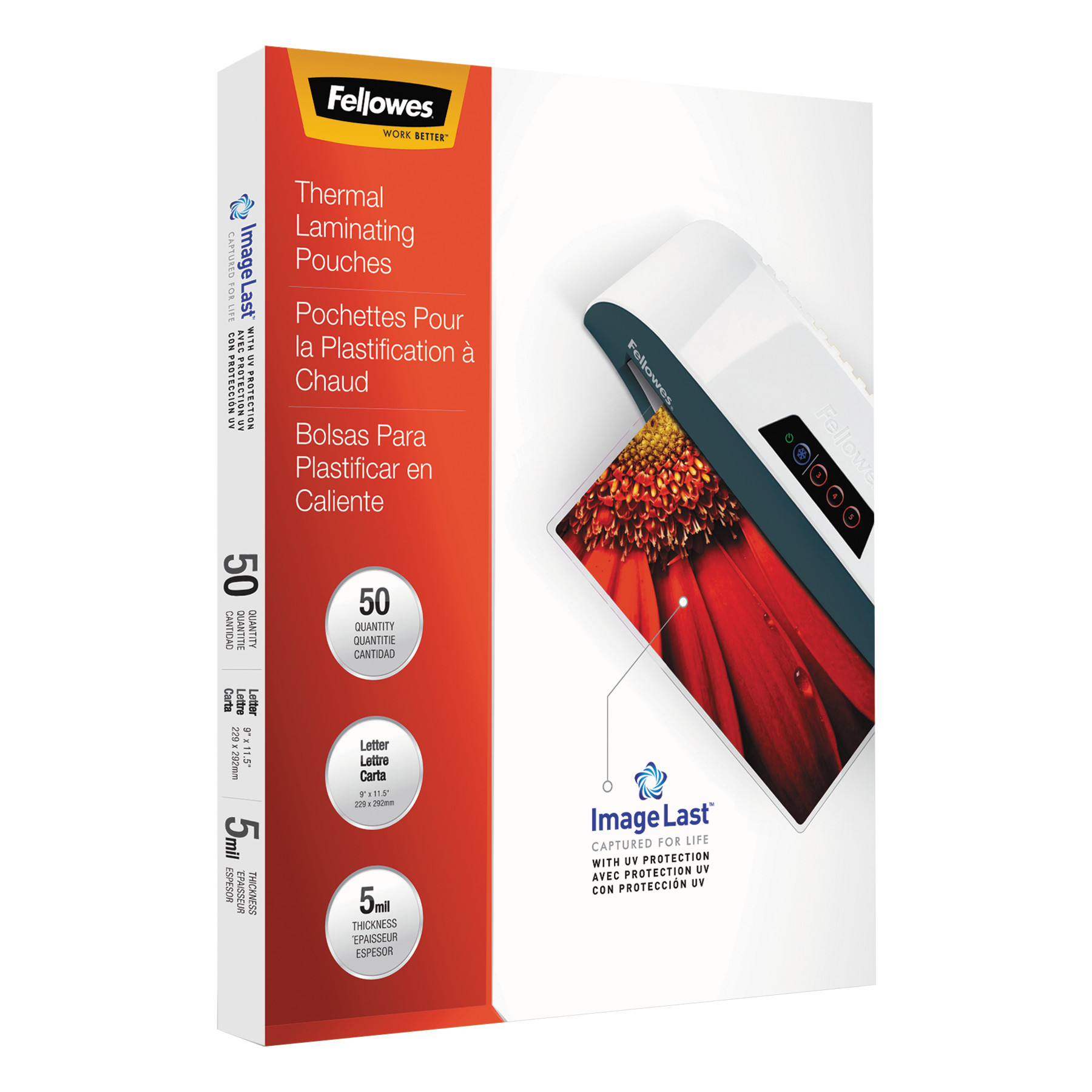 Fellowes ImageLast Laminating Pouches with UV Protection, 5mil, 11 1/2 x 9, 50/Pack