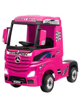 Costway 12V Mercedes Benz Actros Electric Kids Ride on Truck w/Remote Control&MP3 RedBlackPink