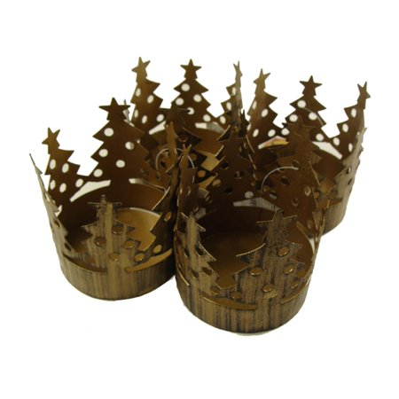 Club pack of 72 brass christmas tree pillar candle holders for Christmas pillar candle holders