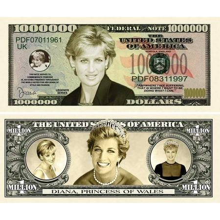 "- 5 Princess Diana Million Dollar Bills with Bonus ""Thanks a Million"" Gift Card Set"