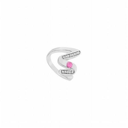 - Pink Sapphire Zig Zag Ring 14K White Gold, 0.50 CT - Size 6