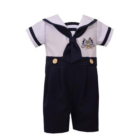 Bonnie Jean Boys Sailor Outfit Nautical Boys Coverall 18 months