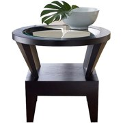 Abbyson Living Cruz Solid Wood Round Glass End Table, Espresso