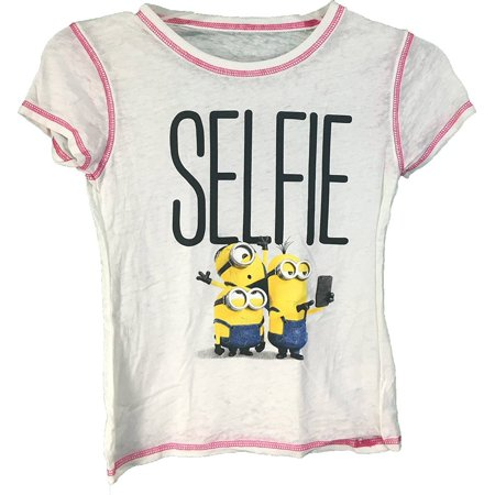 Despicable Me Minions Girls #Selfie T-Shirt Small