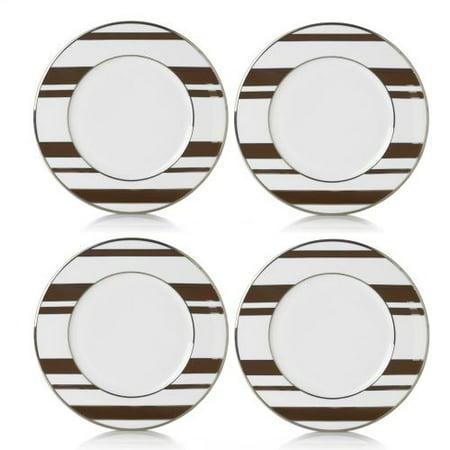 Platinum Rim Soup Plate - Color Studio Set Of 4 Brown Platinum Stripe Accent Plates