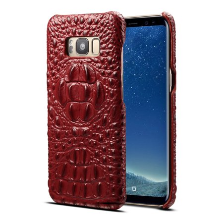 Genuine Crocodile Skin Leather (Galaxy Note 8 Case, Allytech Genuine Leather Simple Crocodile Grain Design Hard Back Protective Case Lightweight Bumper Case Shock Resistant Cover for Samsung Galaxy Note 8 6.3-inch,)