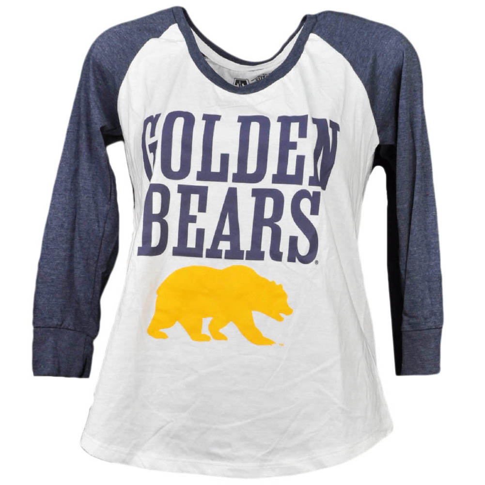 NCAA California Golden Bears Mid Sleeve Tshirt Womens White Blue Crew Neck Medium