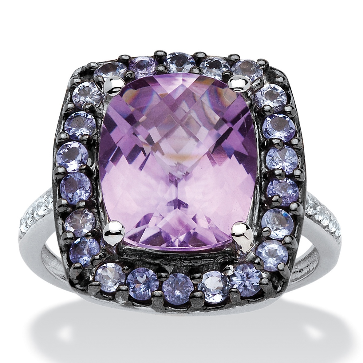 5.60 TCW Genuine Amethyst, Tanzanite and Topaz Halo Ring in Black Ruthenium over Sterling Silver