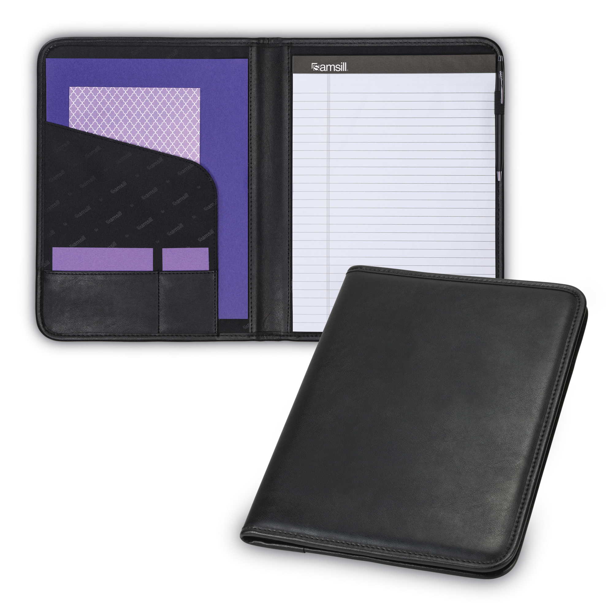 "Samsill Professional Padfolio, 8.5""x11"" Writing Pad Included, Black"